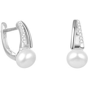 Beneto Elegantní stříbrné náušnice s pravou sladkovodní perlou AGUC2262P