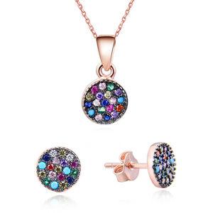 Beneto Hravá souprava šperků ze stříbra se zirkony AGSET284 (náhrdelník, náušnice)