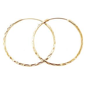 Beneto Módní pozlacené kruhové náušnice ze stříbra AGUC2439/SCS-GOLD 4 cm