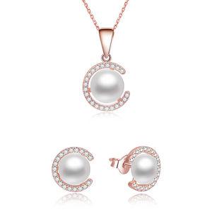 Beneto Pozlacená souprava šperků ze stříbra s pravými perlami AGSET285P-ROSE (náhrdelník, náušnice)