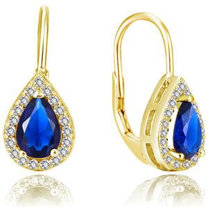 Beneto Pozlacené náušnice s modrými zirkony AGUC2229-GOLD