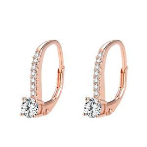Beneto Růžově pozlacené stříbrné náušnice s krystaly AGUC1955-ROSE