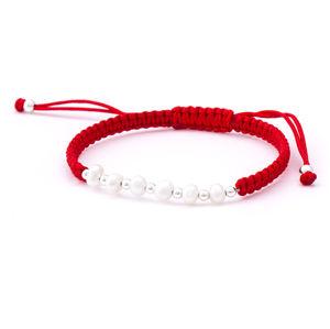 Beneto Šňůrkový červený kabala náramek s pravými perlami AGB549