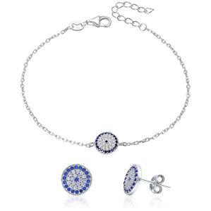 Beneto Stříbrná souprava šperků se zirkony AGSET286 (náramek, náušnice)