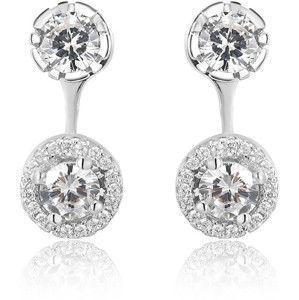 Beneto Stříbrné dvojité náušnice s krystaly AGUP1172