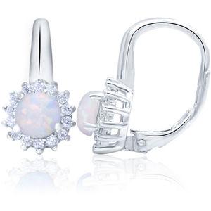 Beneto Stříbrné náušnice s opalizujícími krystaly AGUC1205