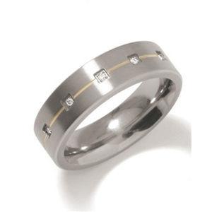 Boccia Titanium Snubní titanový prsten s diamanty 0101-19 49 mm