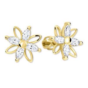 Brilio Květinové náušnice s krystaly 239 001 00920 - 2,65 g