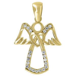 Brilio Něžný přívěsek z bílého zlata Anděl PENT113_AU_Y