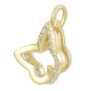 Brilio Přívěsek ze žlutého zlata s krystaly Motýl 249 001 00496 - 0,95 g