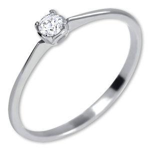 Brilio Zásnubní prsten z bílého zlata s krystalem 226 001 01036 07 48 mm