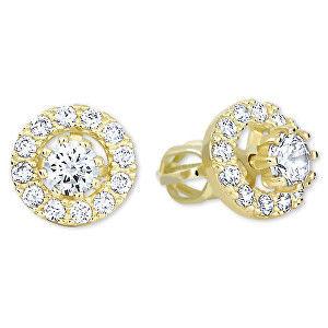 Brilio Zlaté kulaté náušnice s čirými krystaly 2v1 239 001 00860