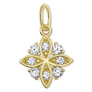 Brilio Zlatý přívěsek Sněhová vločka s krystaly 249 001 00575 - 0,80 g