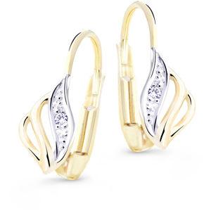 Cutie Jewellery Luxusní zlaté náušnice s třpytivými zirkony Z8024-50-X-1 bílá