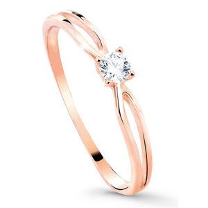Cutie Jewellery Něžný třpytivý prsten z růžového zlata Z8027-10-X-4 57 mm