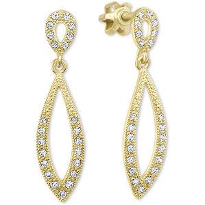 Brilio Dámské zlaté náušnice s čirými krystaly 239 001 00876