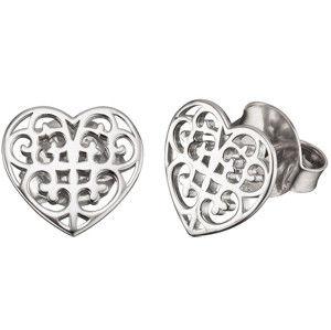 Engelsrufer Stříbrné náušnice Srdce s ornamentem ERE-ORNAHEART-S