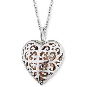 Engelsrufer Stříbrný náhrdelník Andělský zvonek růžové srdce ERN-16-HEART-S