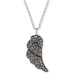 Engelsrufer Stříbrný náhrdelník Křídlo s markazity ERN-LILWING-MA