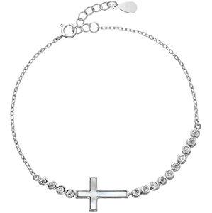 Evolution Group Něžný stříbrný náramek se zirkony Křížek 13016.1