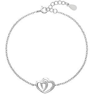 Evolution Group Romantický stříbrný náramek Dvě srdce se zirkony 13011.1