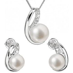 Evolution Group Souprava stříbrných šperků s pravými perlami Pavona 29042.1 (náušnice, řetízek, přívěsek)