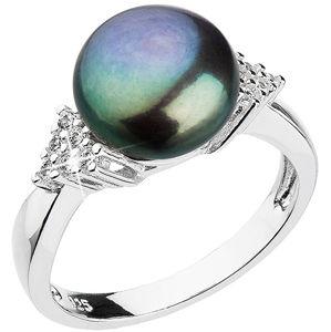 Evolution Group Stříbrný prsten s tmavou říční perlou a zirkony 25002.3 54 mm