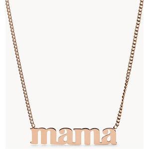 Fossil Pozlacený ocelový náhrdelník s nápisem MAMA JF03156791