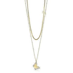 Guess Designový pozlacený dvojitý náhrdelník UBN78031