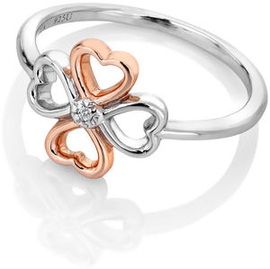 Hot Diamonds Bicolor stříbrný čtyřlístkový prsten s diamantem Lucky in Love DR216 55 mm