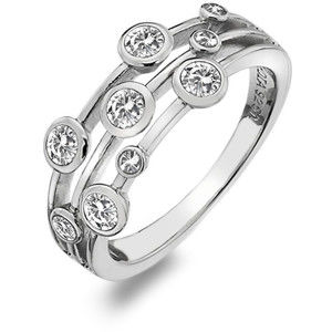 Hot Diamonds Luxusní stříbrný prsten s topazy a diamantem Willow DR207 59 mm