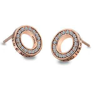 Hot Diamonds Stříbrné náušnice Hot Diamonds Emozioni Saturno Rose Gold DE409