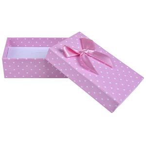 JK Box Růžová puntíkatá krabička na soupravu šperků KK-6/A5