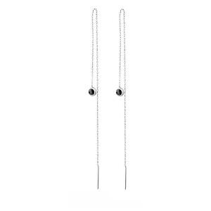 JVD Dlouhé stříbrné náušnice s onyxem SVLE0851XH2BL00