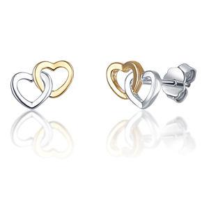 JVD Stříbrné bicolor náušnice propojene srdce SVLE0717XH2BK00