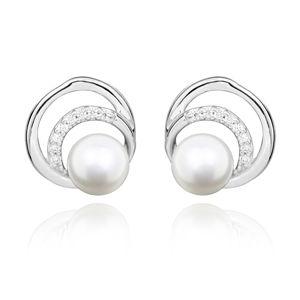 JVD Stříbrné náušnice s perlou a zirkony SVLE0321SH8P100