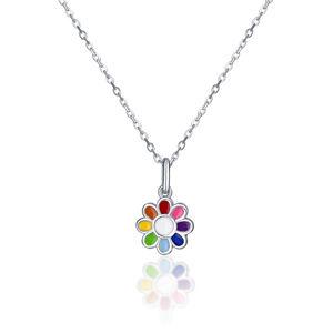 JVD Stříbrný náhrdelník s květinou SVLN0391SH2BA38