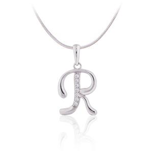 """JVD Stříbrný přívěsek s krystaly """"R"""" SVLP0364XH2BI0R"""