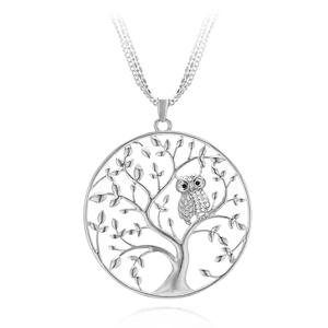 JVD Stříbrný přívěsek se zirkony Strom života se sovičkou SVLP0527XH2BI00