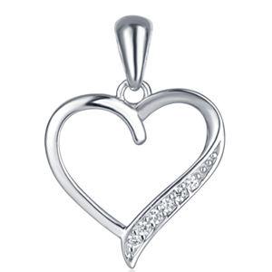 JVD Stříbrný přívěsek srdce se zirkony SVLP0326SH8BI00