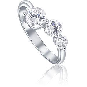JVD Stříbrný prsten se třemi krystaly SVLR0218X75BI 60 mm