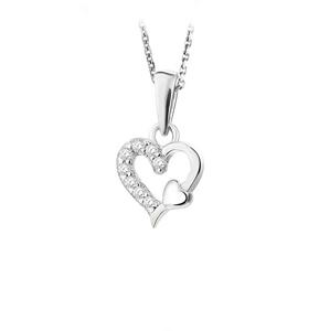JVD Zamilovaný stříbrný přívěsek Srdce se zirkony SVLP0536XH2BI00
