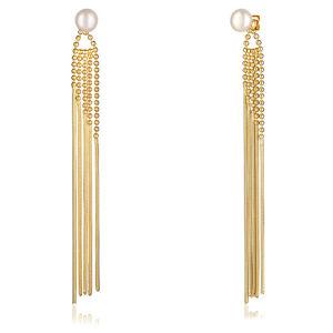 JwL Luxury Pearls Dlouhé zlacené náušnice 2v1 s pravými perlami JL0654