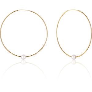 JwL Luxury Pearls Pozlacené náušnice kruhy s pravými bílými perlami JL0639