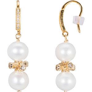 JwL Luxury Pearls Stříbrné zlacené náušnice s pravými perlami JL0443