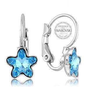 Levien Dívčí náušnice s tyrkysovým krystalem STARBLOOM LE0086