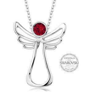 Levien Náhrdelník s červeným krystalem Guardian Angel