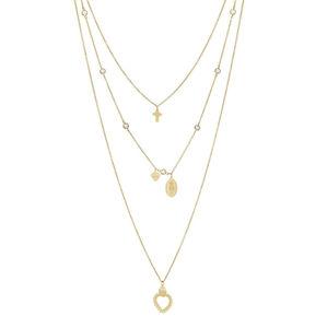 Liu.Jo Pozlacený trojitý ocelový náhrdelník s přívěsky LJ1440
