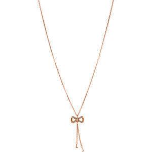 Liu.Jo Růžově pozlacený ocelový náhrdelník s mašličkou LJ1290