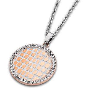 Lotus Style Ocelový náhrdelník s krystaly LS1778-1/2